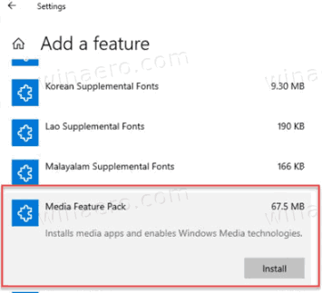 Install Media Feature Pack In Windows 10 Optional Features