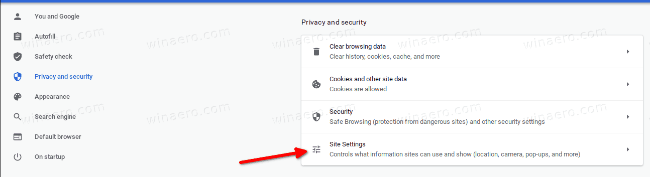 Chrome Privacy And Security Site Settings