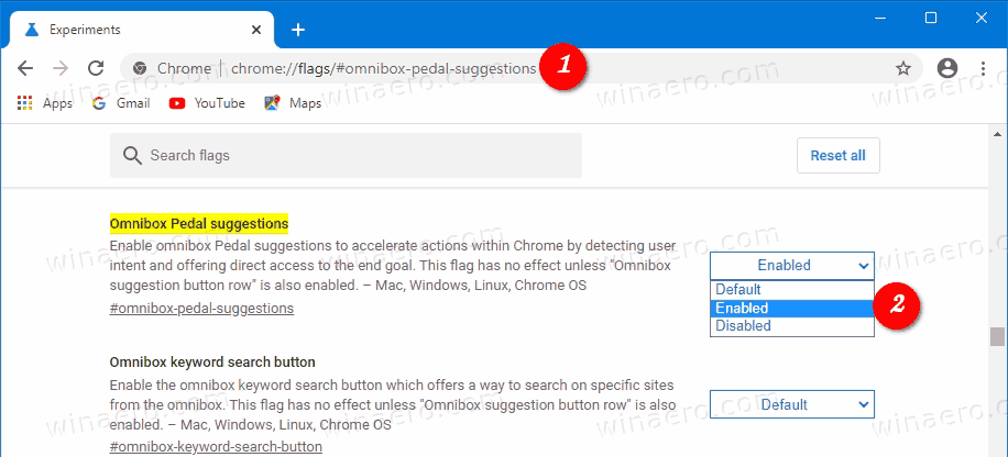Enable Chrome Actions 1