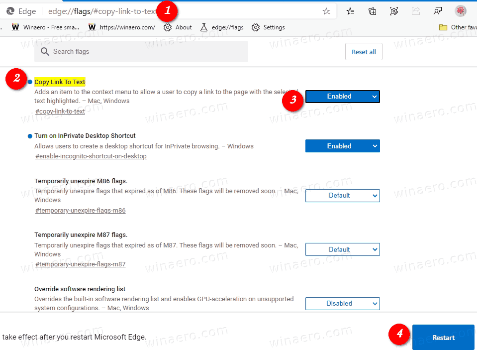 Enable Copy Link To Text In Microsoft Edge