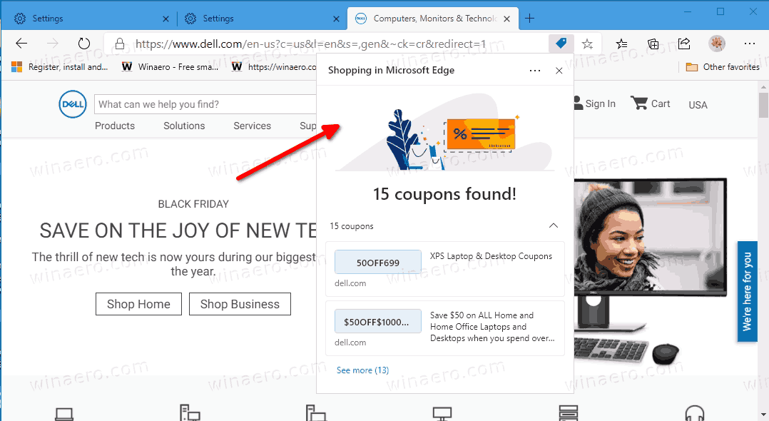 Microsoft Edge Coupon Suggestion Shopping Feature