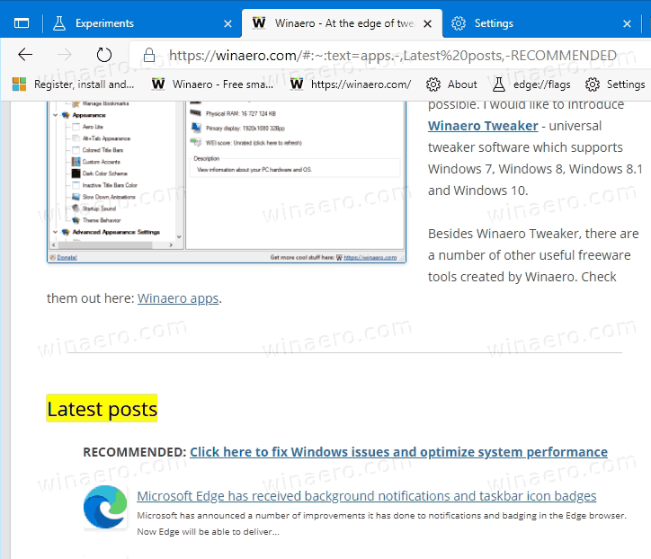 Microsoft Edge Open Page With Text Fragment