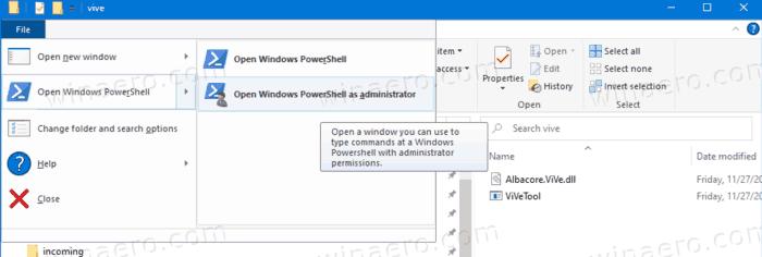 Open PowerShell In ViveTool Folder