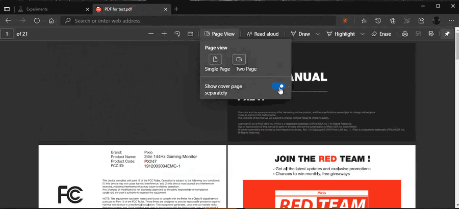 Two Page View For PDF In Microsoft Edge 1