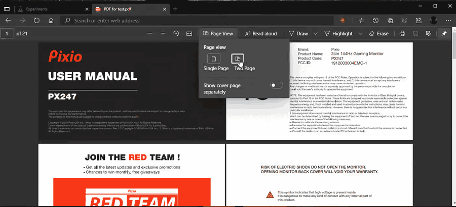 Two Page View For PDF In Microsoft Edge 2