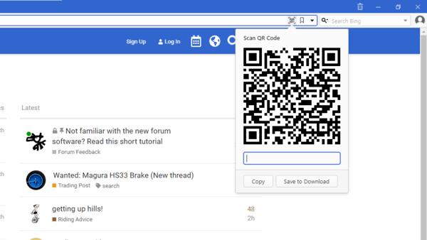 Vivaldi Share URL Via QR Code