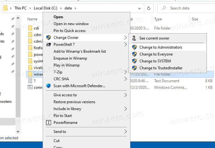 Change Owner Context Menu