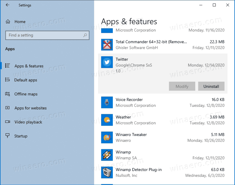 Chrome Uninstall PWA From Settings