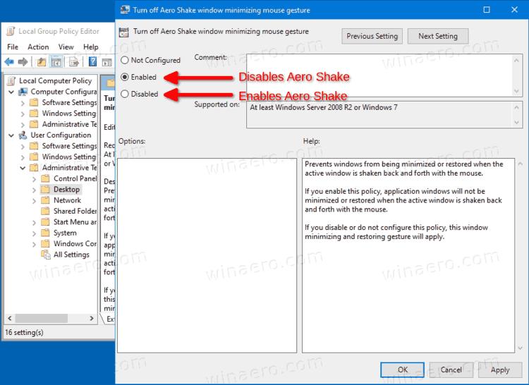 Configure The Aero Shake Policy