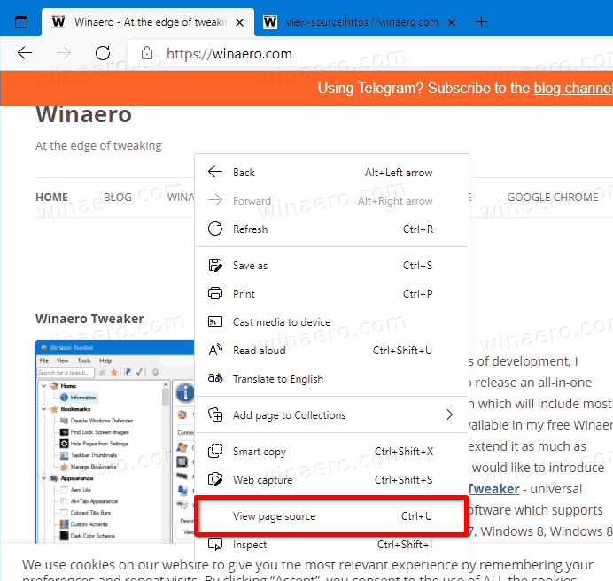 Edge View Source Page Right Click Menu