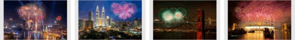 Fireworks On New Year Stripe