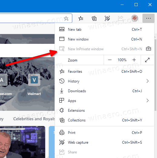 InPrivate Browsing Is Disabled In Microsoft Edge