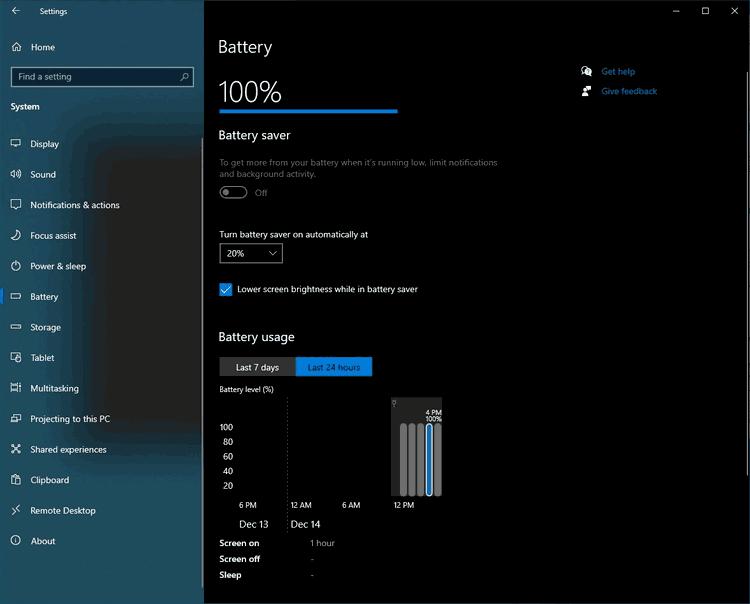Windows 10 Battery Usage Settings Build 21277