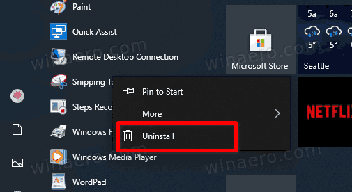 Windows 10 Uninstall Snipping Tool From The Start Menu
