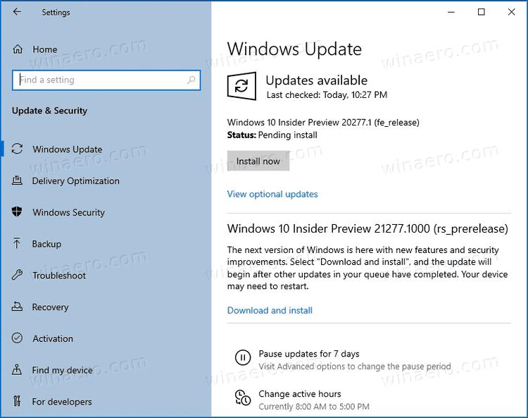 Windows 10 Build 20277 Default Update