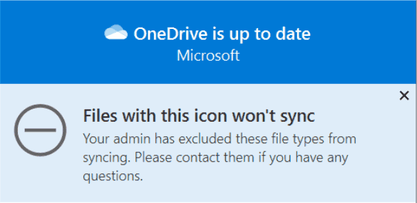 OneDrive Excluded File