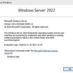 Server 2022 Build 20285 Winver Icon