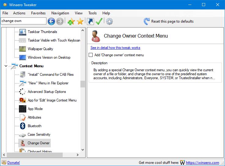 Winaero Tweaker 0.19 Change Owner Menu 1