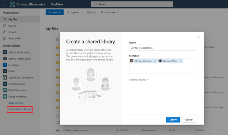 Create Shared Library In Onedrive