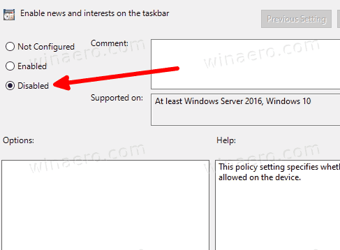 Disable News And Interest In Group Policy