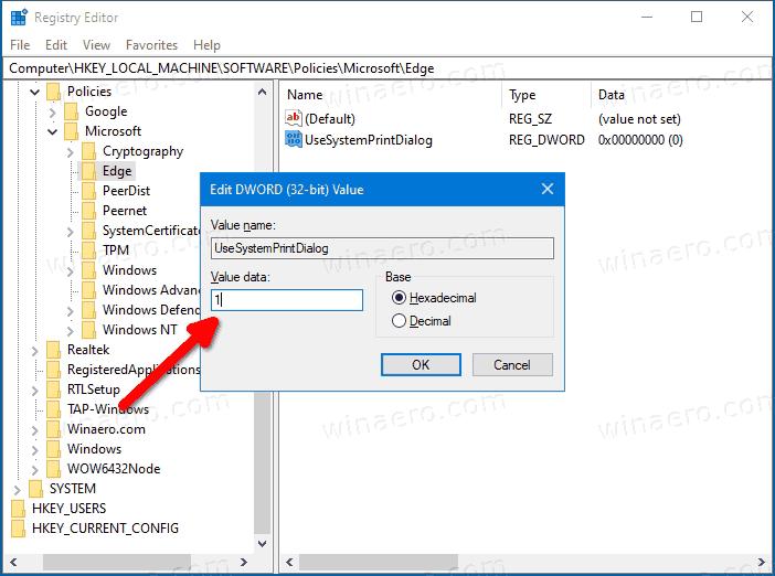 Edge Enable System Print Dialog