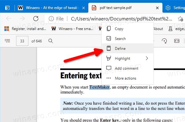 Edge PDF Mini Menu Define
