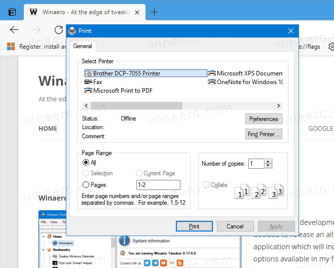 Edge With System Print Dialog Enabled