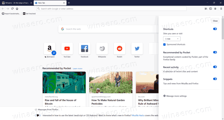 Firefox New Tab Page Proton Design