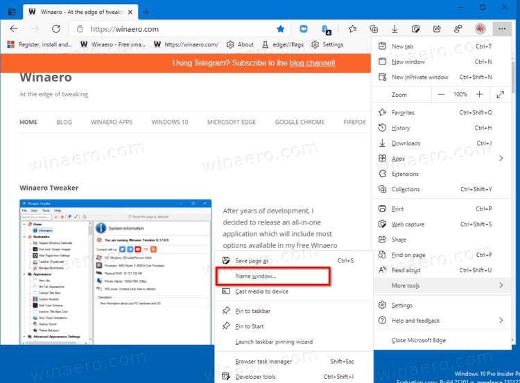 Microsoft Edge Enable Window Option