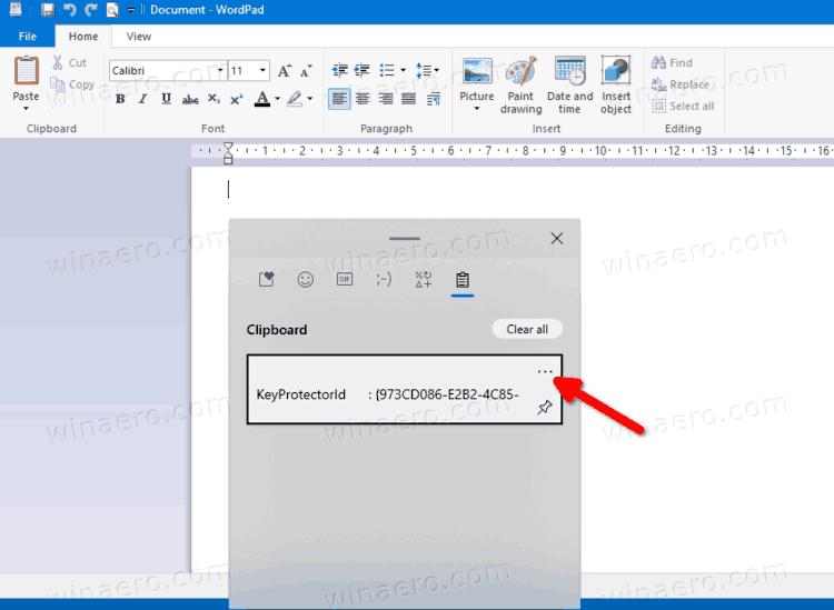 Windows 10 Clipboard History Flyout