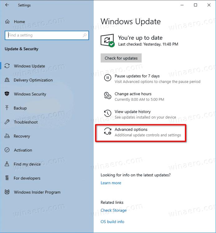 Windows Update Advanced Options Link Windows 10