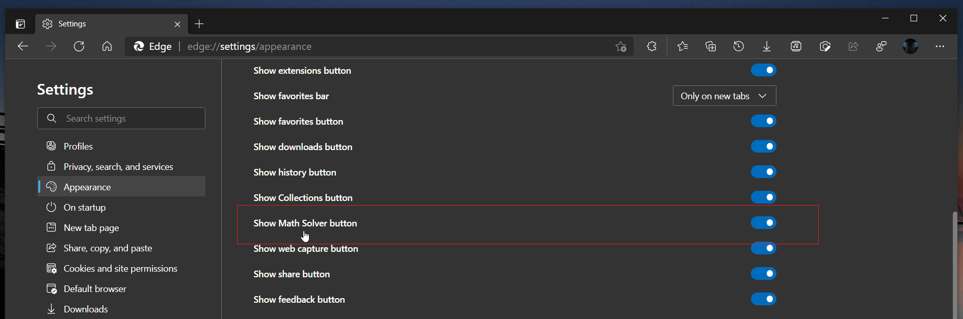 Add Math Solver Button In Edge