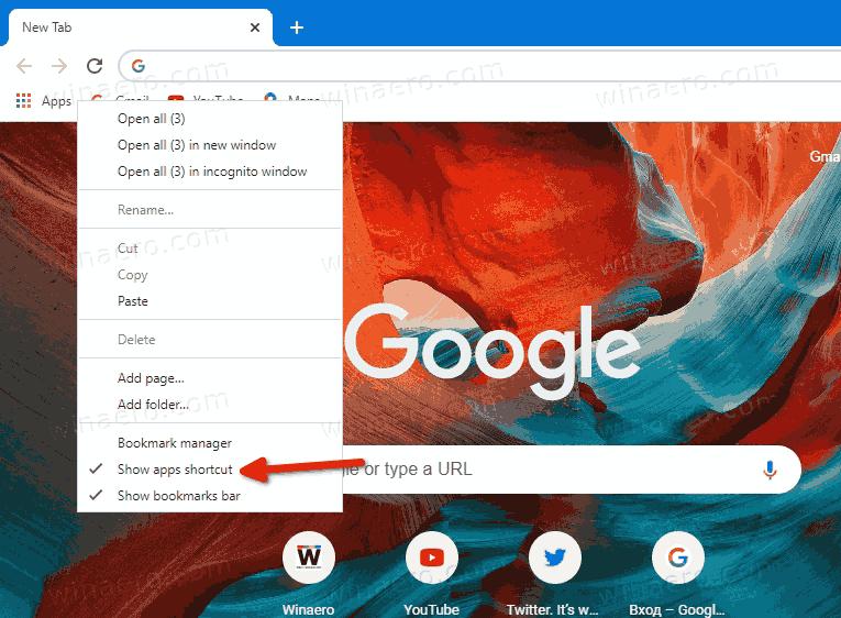 Chrome Disable Apps Button