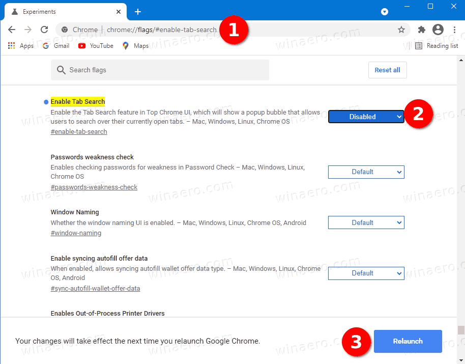 Disable Search Tabs Button In Chrome
