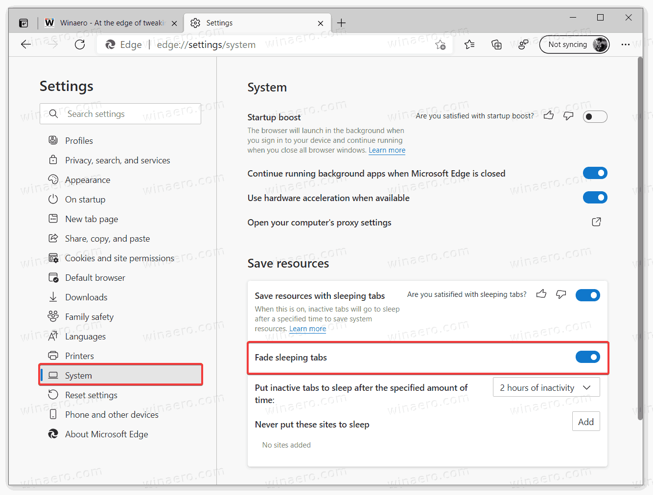 Disable Tab Fading In Microsoft Edge