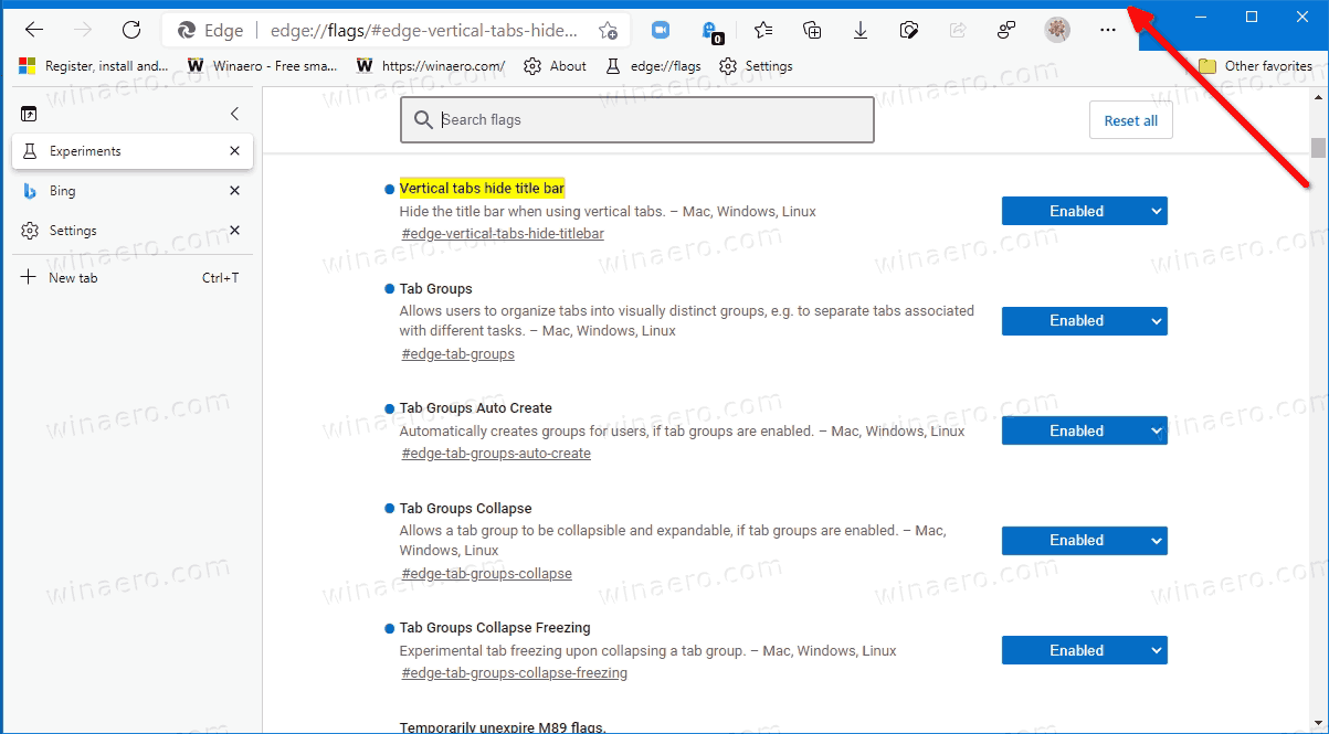 Edge Vertical Tabs With Titlebar Hidden