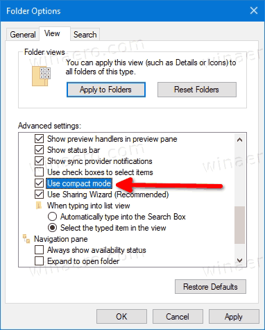 Enable Compact Mode In File Explorer
