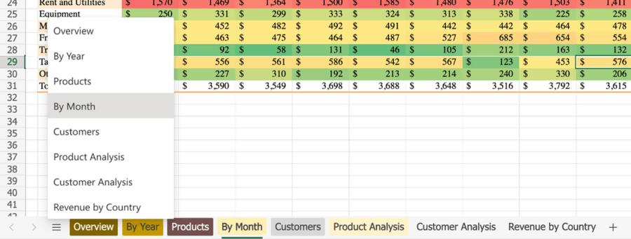 Excel Online Navigation
