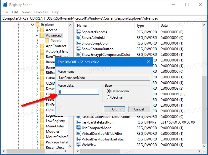 File Explorer Enable Compact Mode In Registry