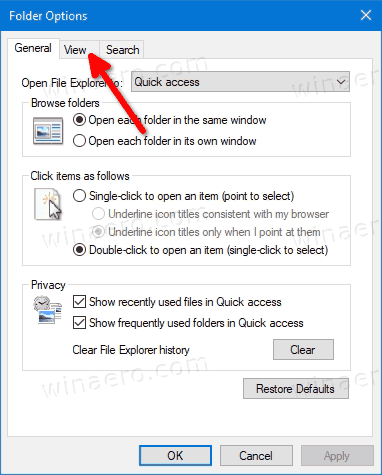 File Explorer Options Switch To View Tab
