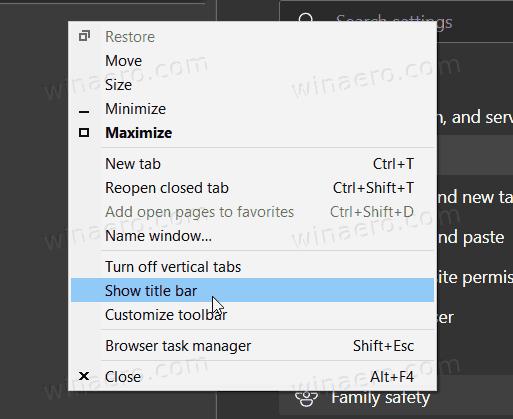 Hide Title Bar Option Window Context Menu