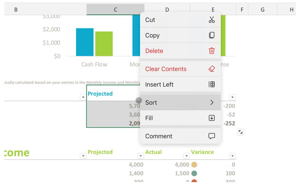 New Context Menu Excel Ipad