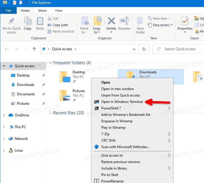 Hướng dẫn Thêm / Xóa thực đơn ngữ cảnh 'Mở Trong window Terminal' Trong hệ điều hành win 10