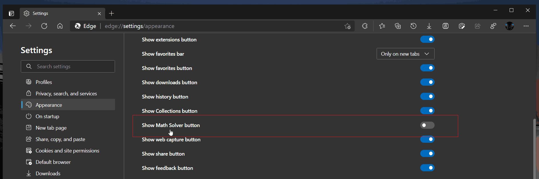 Remove Math Solver Button In Edge