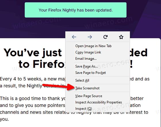 Take Page Screenshot In Firefox From Context Menu
