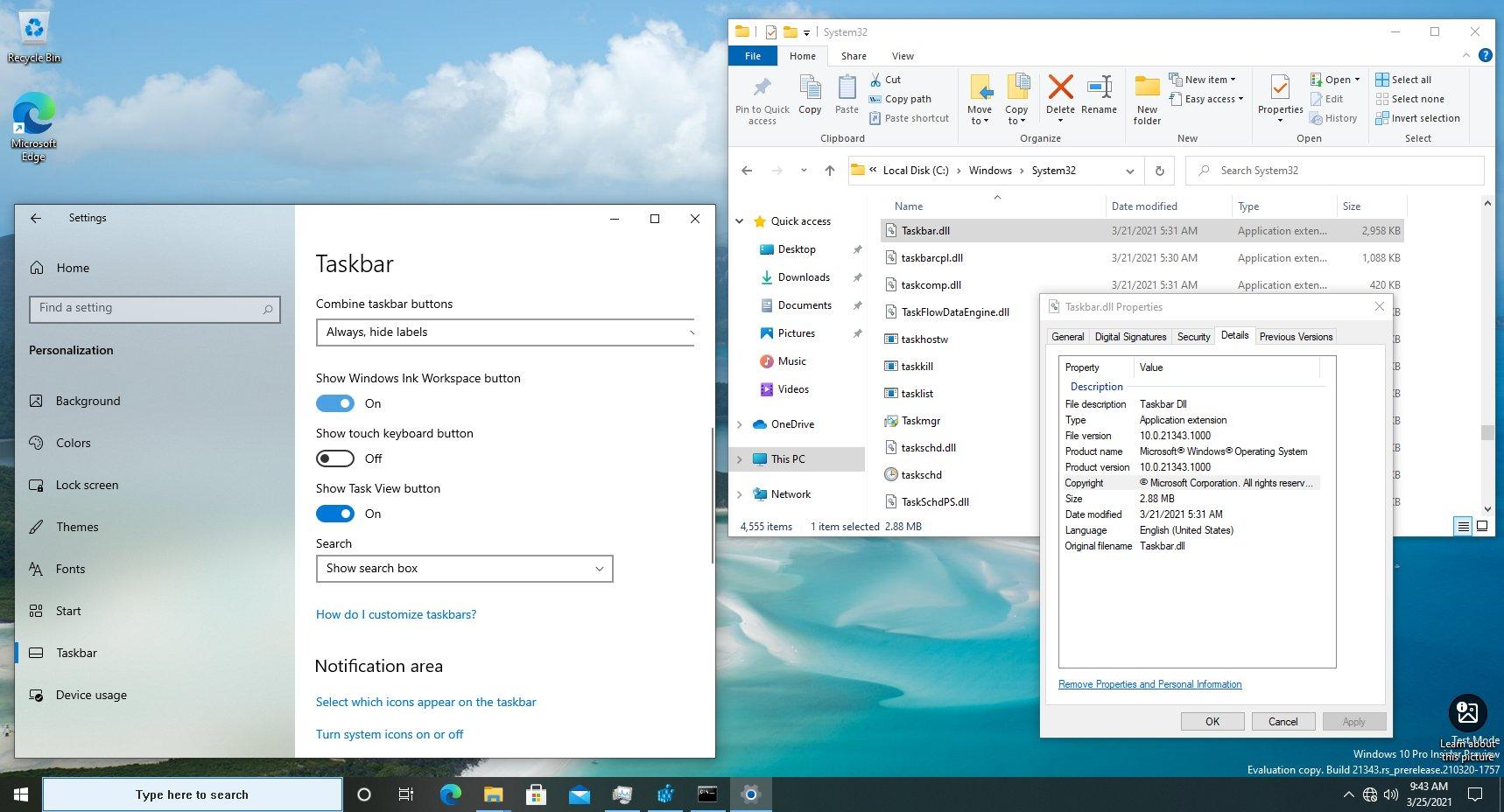 Windows 10 External Taskbar Component