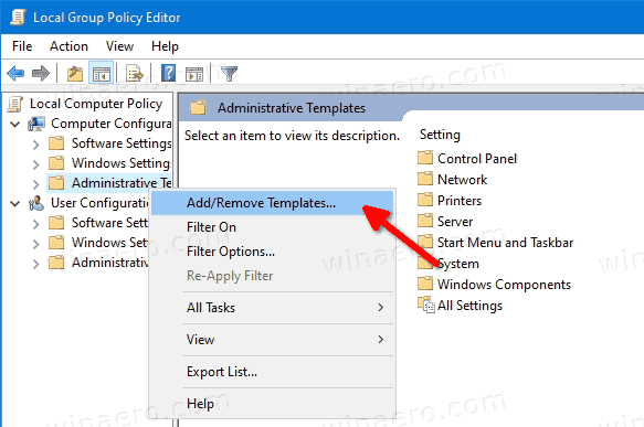Add Remove Templates In Group Policy Editor