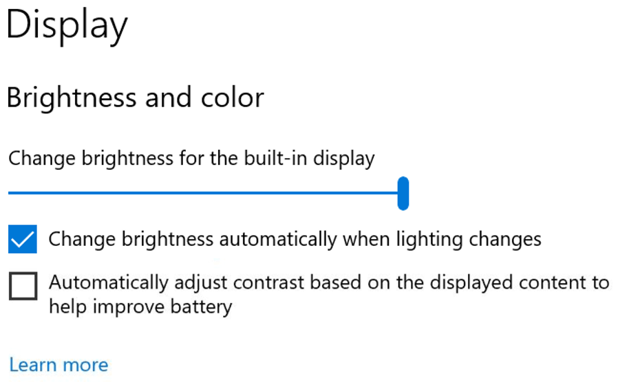 Build 21354 Disable Content Adaptive Brightness Control