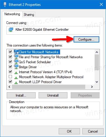 Configure Button In Adapter Properties