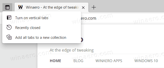 Edge Tabs Actions